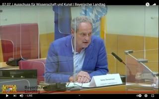 Kultur-Sachverständigen-Anhörung im Bayerischen Landtag am 07. 07. 2021